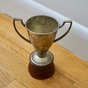 VINTAGE Metal & Wood Trophy!!